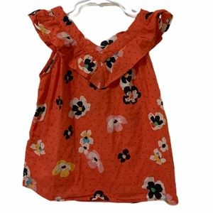 Gap Kids Sleeveless Floral Red Top Size Small Girl